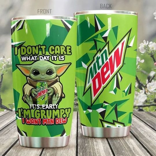 personalized name baby yoda and mountain dew tumbler 1