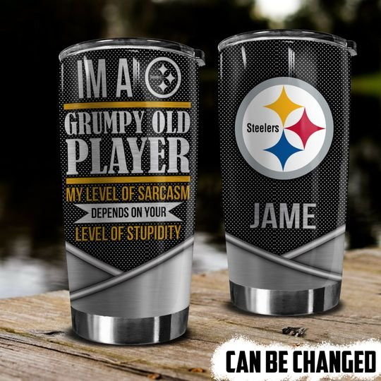 personalized name im a grumpy old player pittsburgh steelers tumbler 1