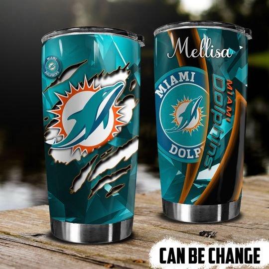 personalized name miami dolphins football team tumbler 1