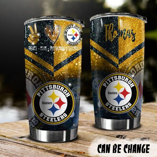 personalized name peace love pittsburgh steelers tumbler 1