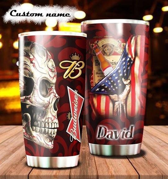 personalized name sugar skull budweiser beer tumbler 1 - Copy
