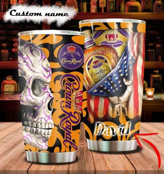 personalized name sugar skull crown royal whisky tumbler 1