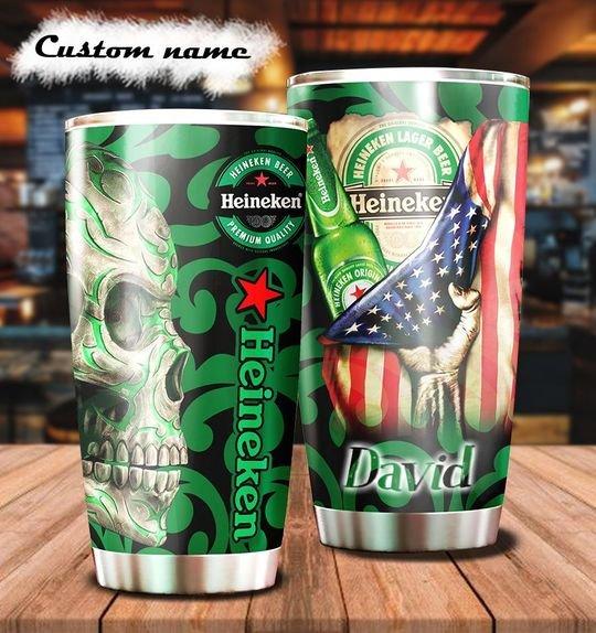 personalized name sugar skull heineken beer tumbler 1