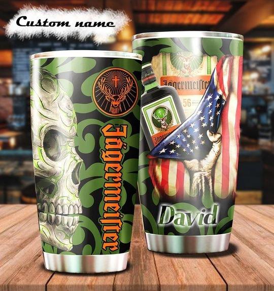 personalized name sugar skull jagermeister tumbler 1 - Copy