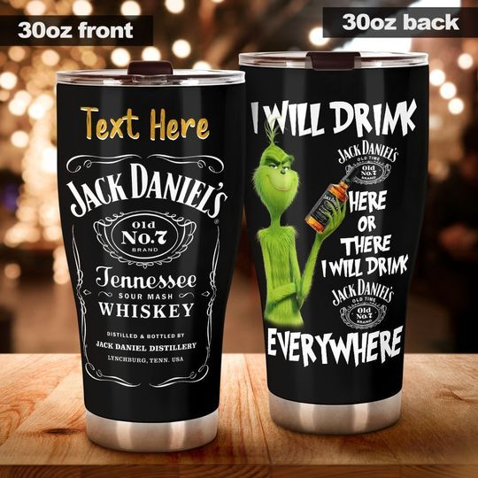 personalized name the grinch and jack daniels whiskey tumbler 1