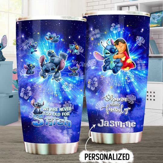 personalized name we are never to old for stitch tumbler 1