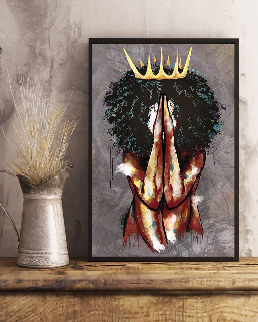 praying black queen watercolor poster 4