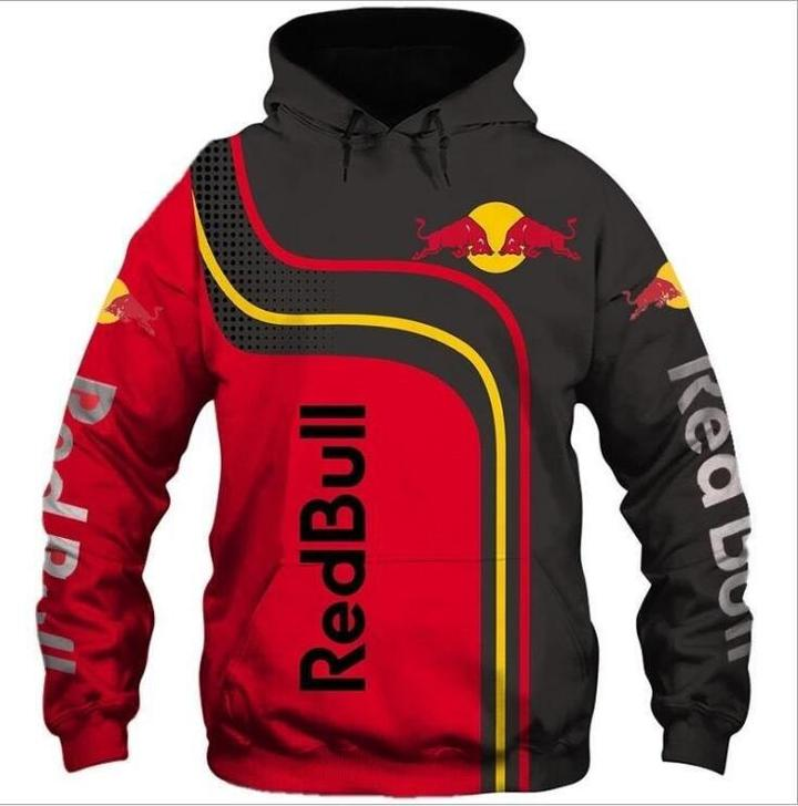 red bull energy drink racing full printing hoodie