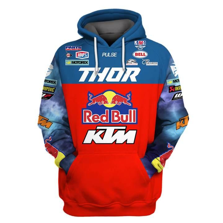red bull ktm racing team sports car motorcycles full printing hoodie