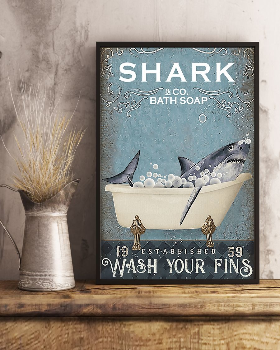 shark co and bath soap established wash your fins retro poster 4