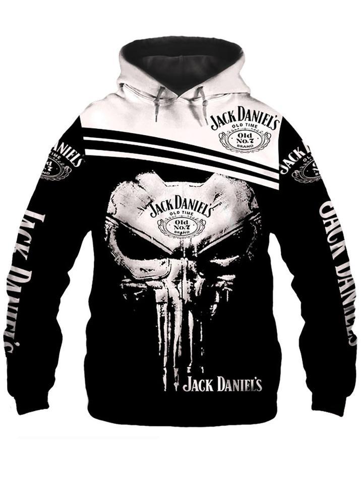 skull jack daniels old number 7 full printing hoodie