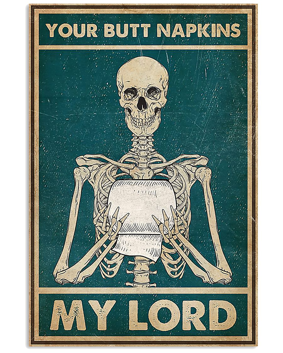 skull your butt napkins my lord retro poster 1