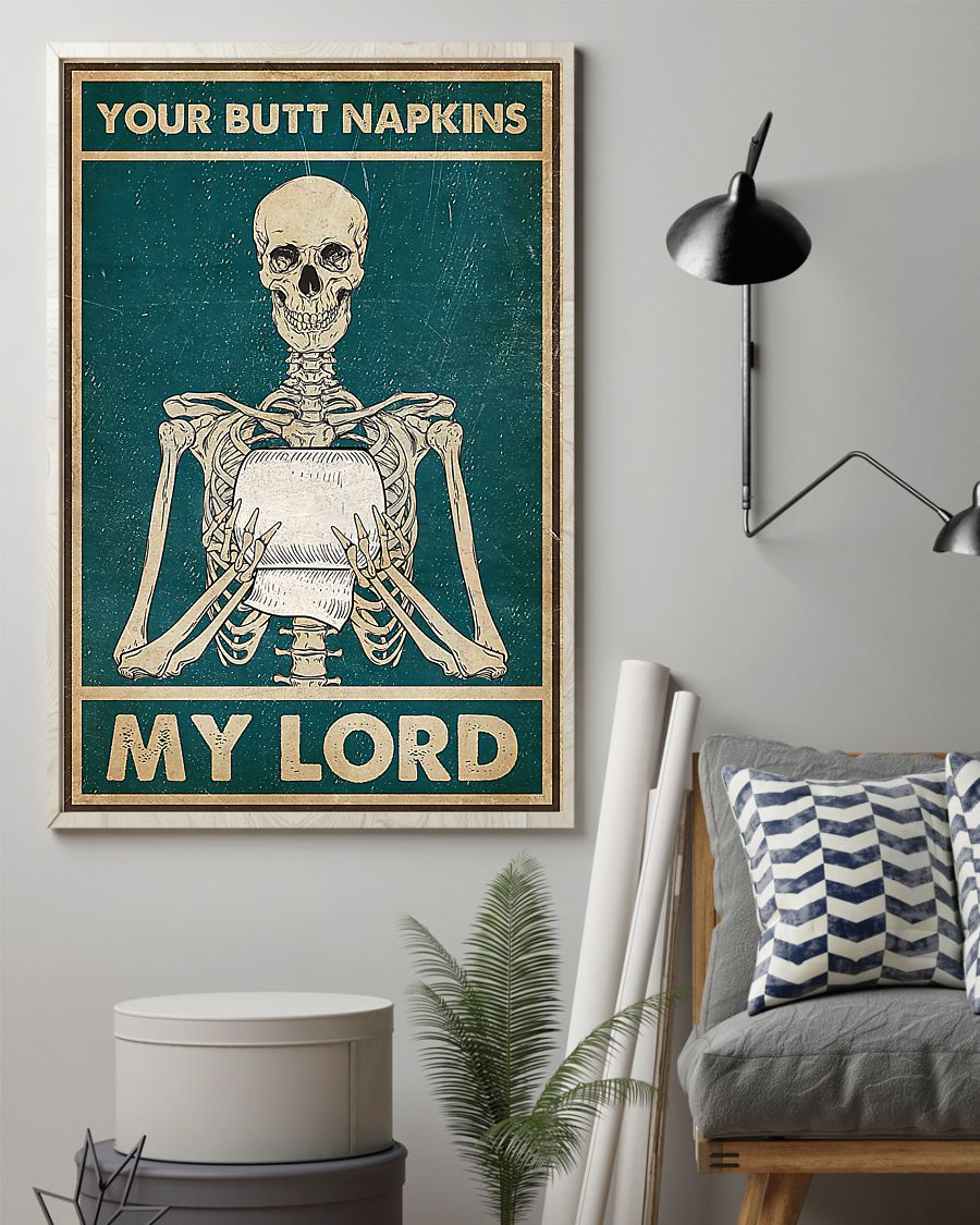skull your butt napkins my lord retro poster 2
