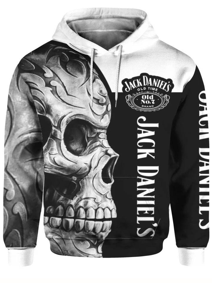 sugar skull jack daniels old number 7 full printing hoodie