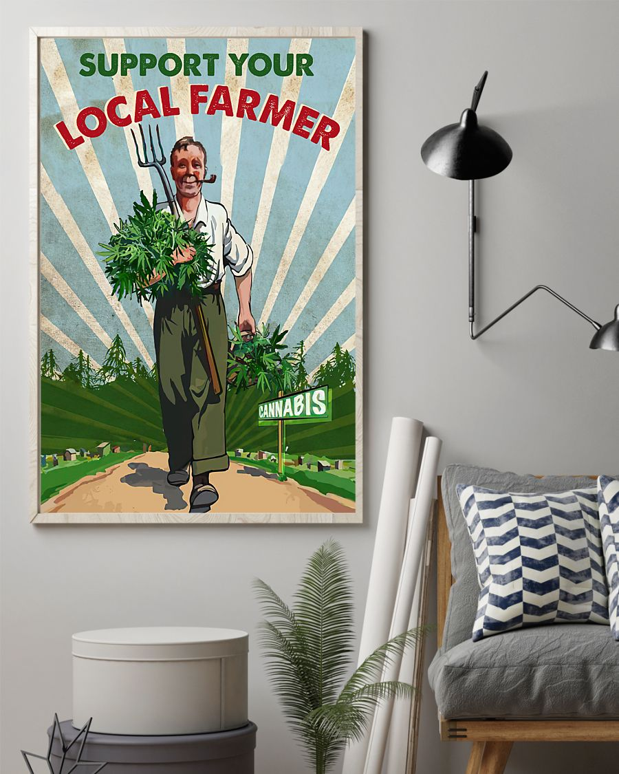 support your local farmer cannabis retro poster 2