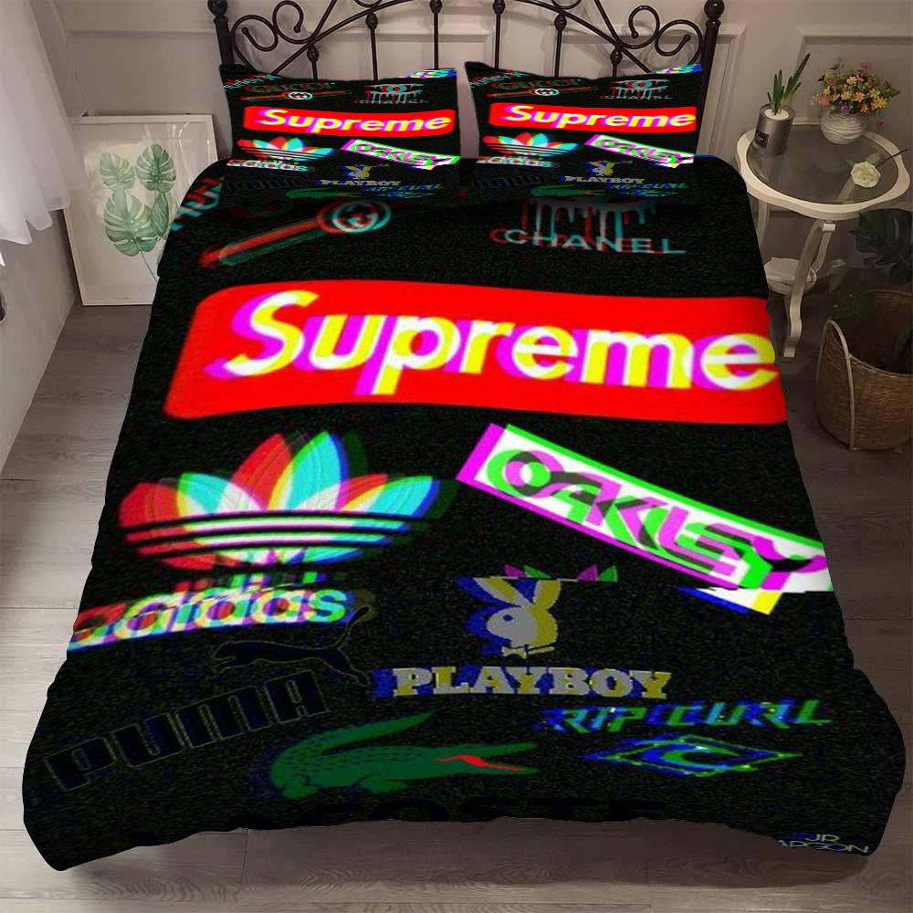 supreme adidas playboy symbols bedding set 3