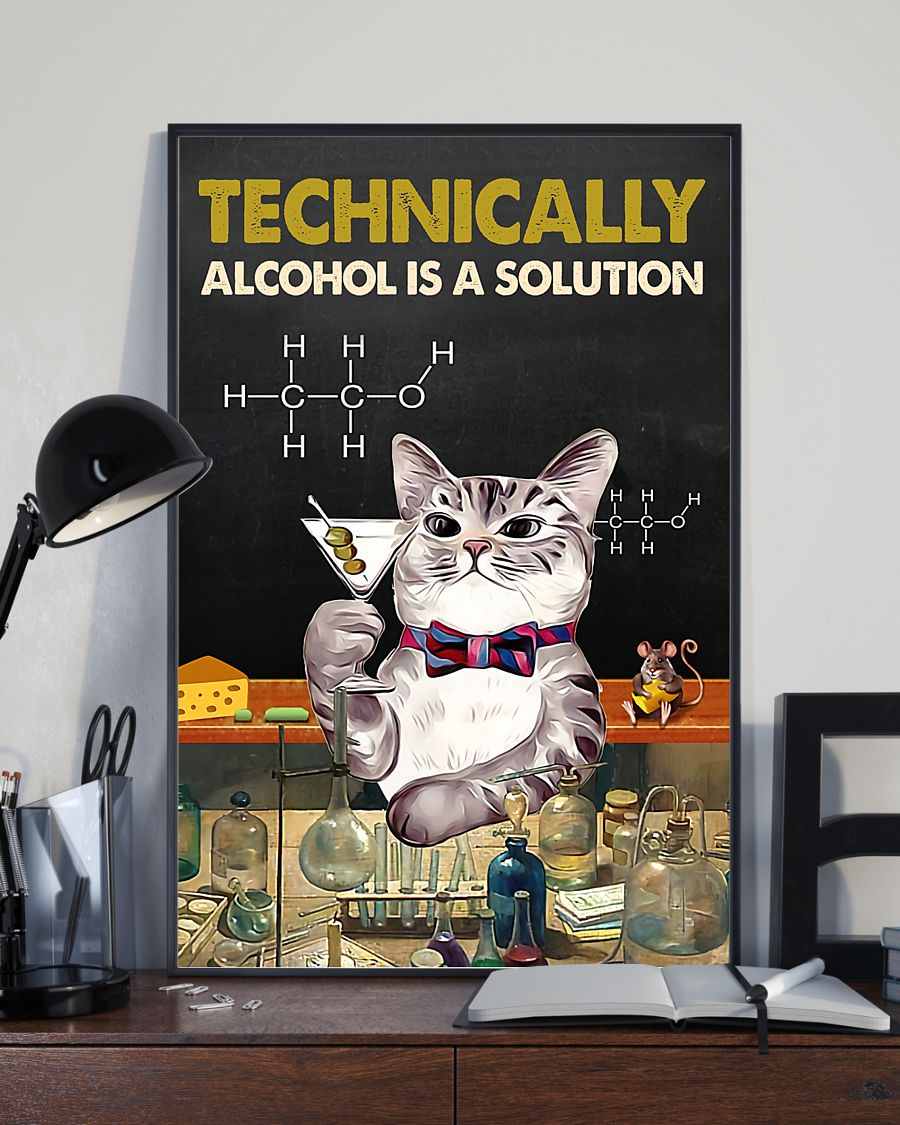 technically alcohol is a solution cat retro poster 2