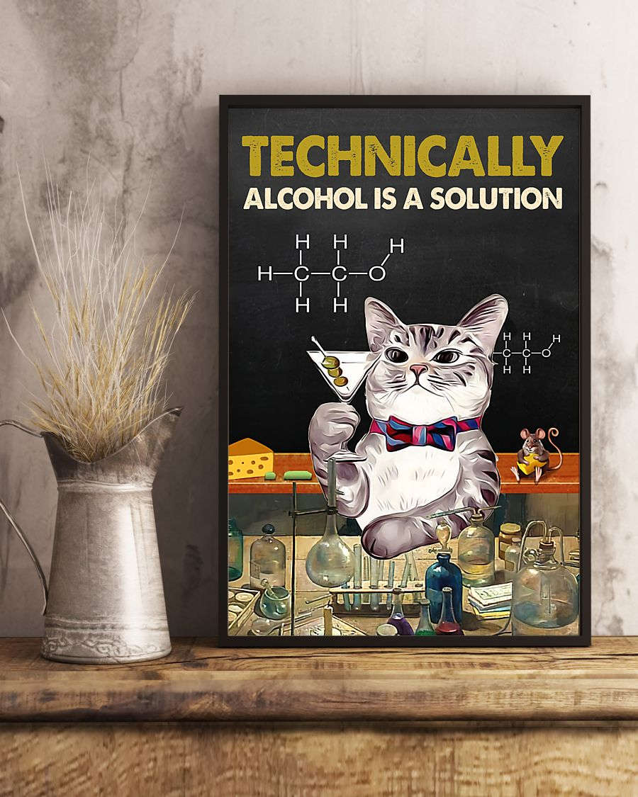 technically alcohol is a solution cat retro poster 3