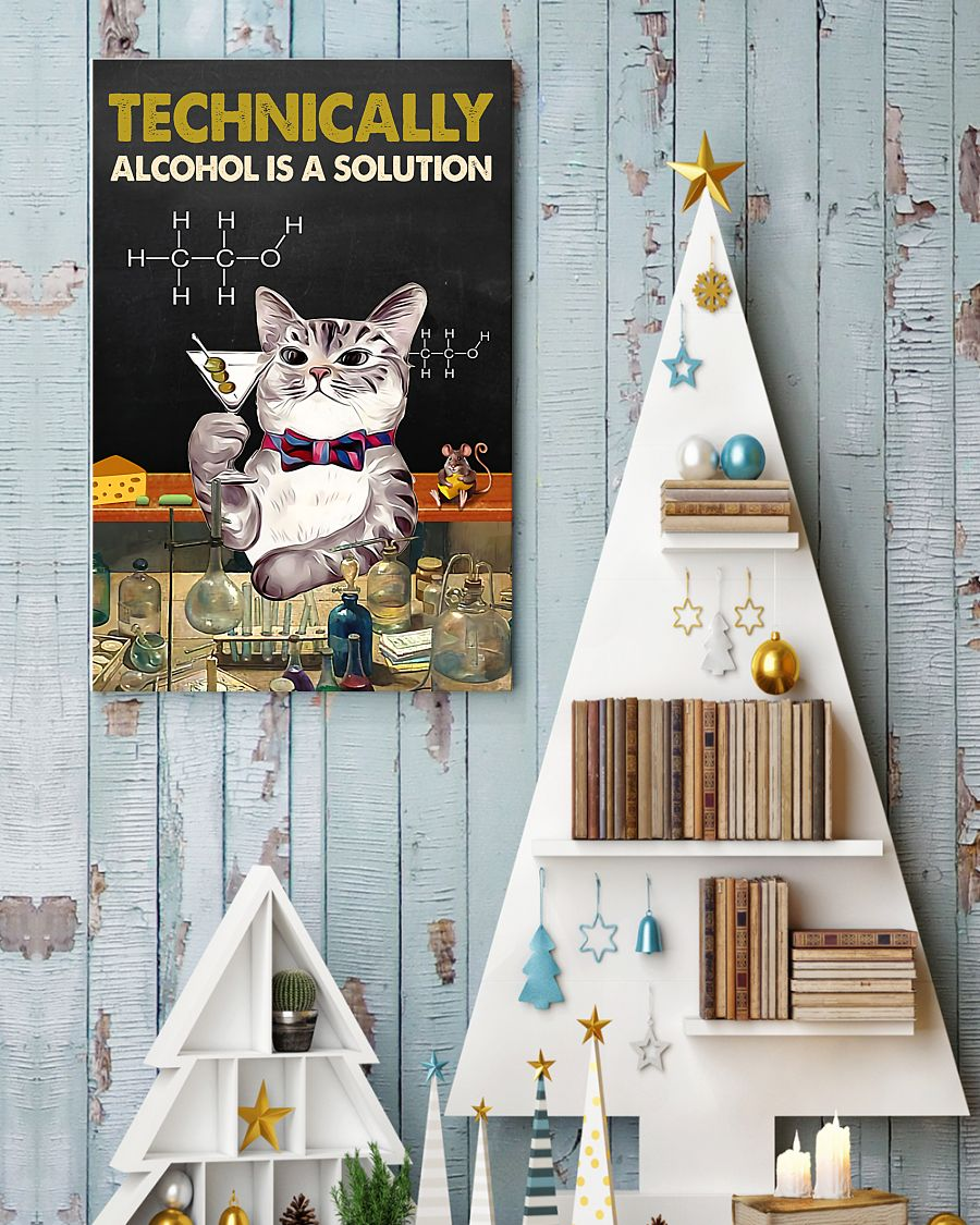 technically alcohol is a solution cat retro poster 4