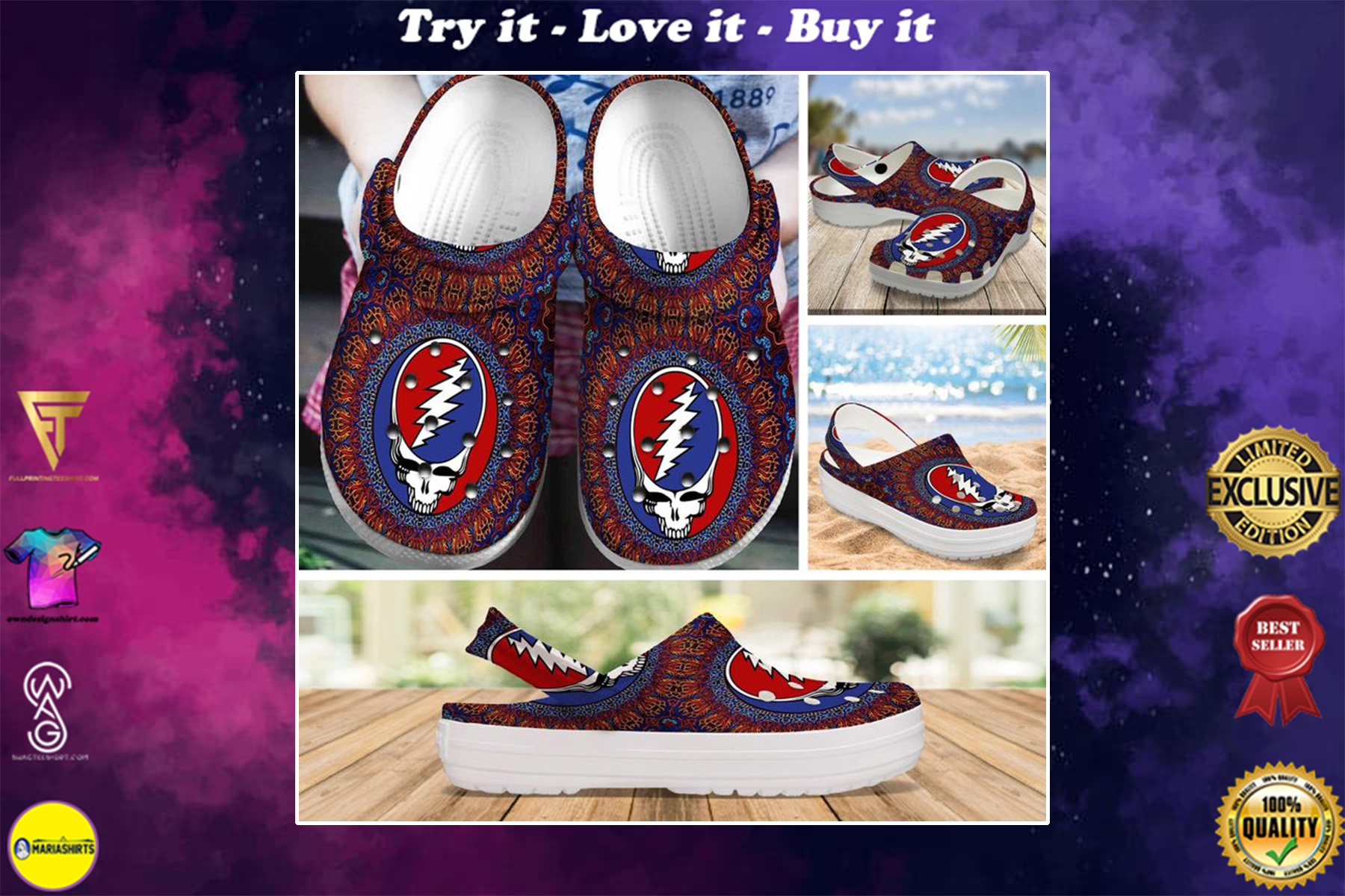 the grateful dead rock band crocs - Copy