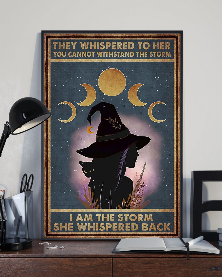 they whispered to her you can't withstand the storm witch girl and black cat retro poster 2