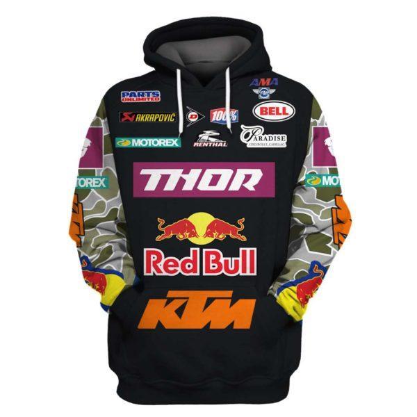 thor motorex red bull ktm mountain biking full printing hoodie