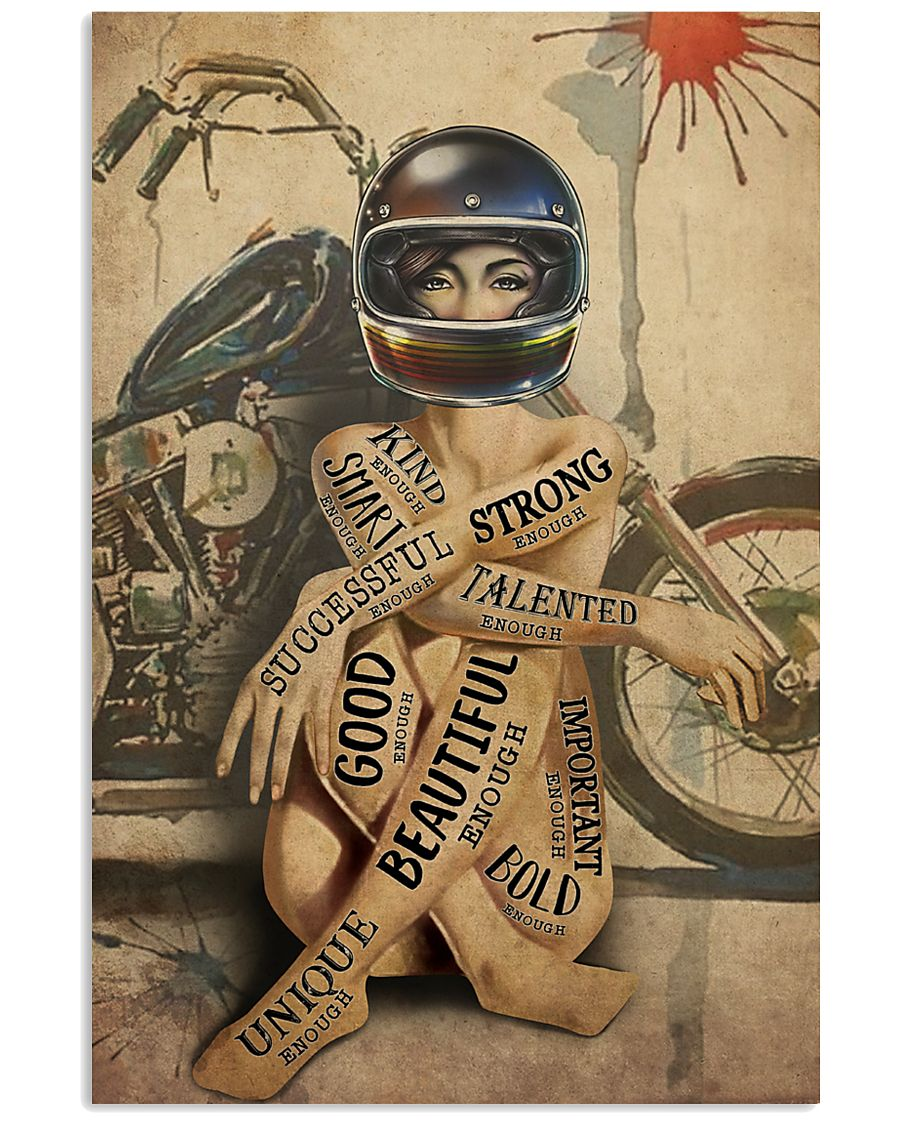 vintage motorcycle girl i am strong beautiful smart poster 1
