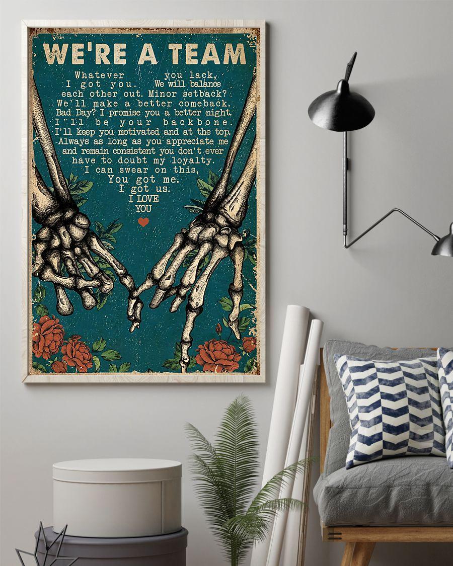 we're a team skeleton retro poster 2