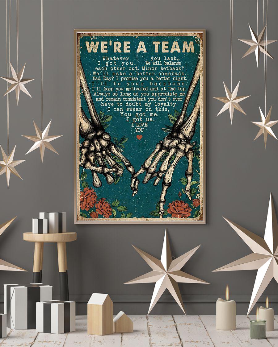 we're a team skeleton retro poster 4