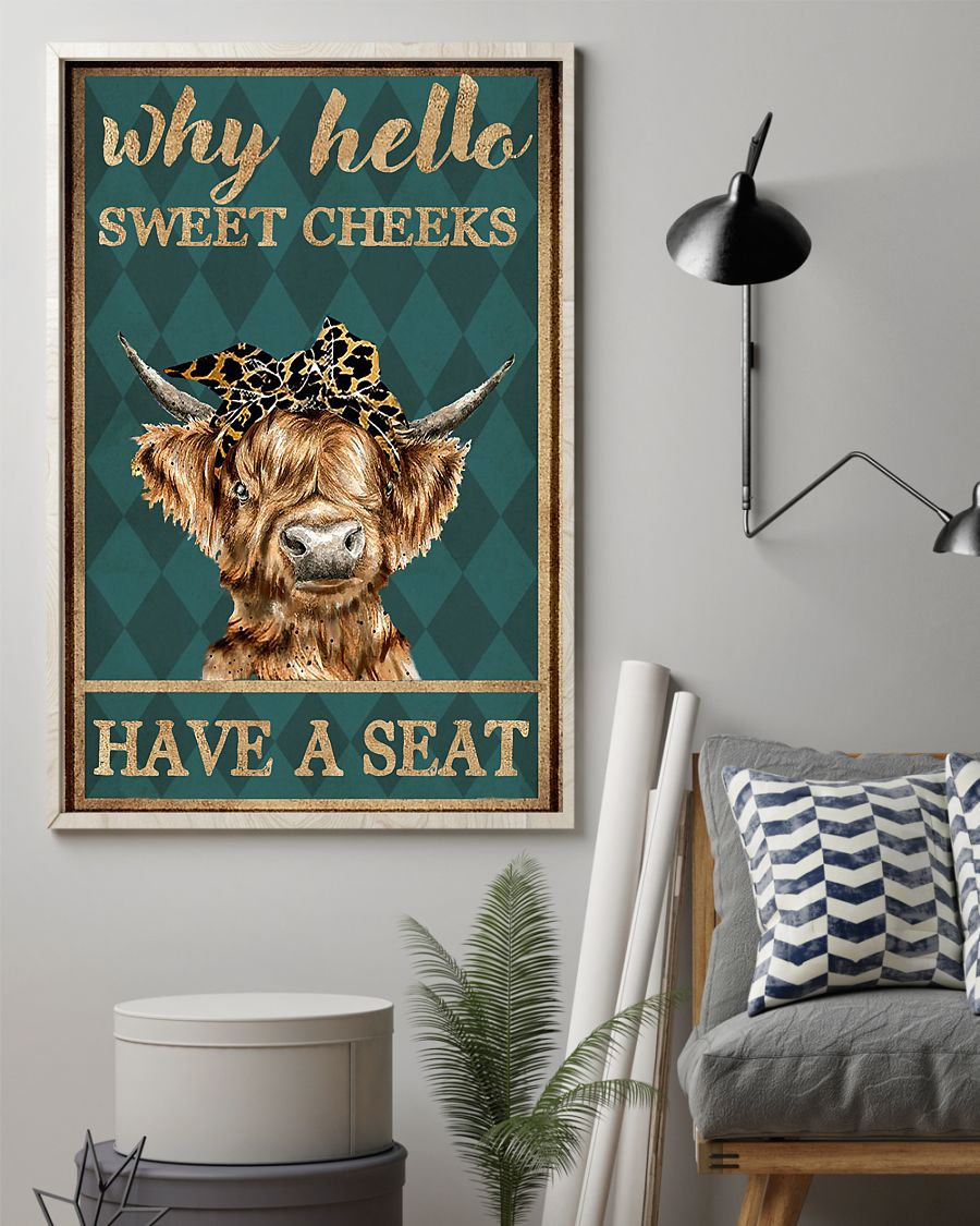 why hello sweet cheeks have a seat cow retro poster 2