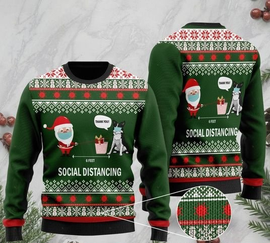 6 feet social distancing border collie and santa claus ugly sweater 2