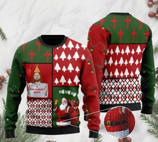 Jesus birthday boy and santa claus ho ho ho with toilet paper full printing ugly sweater 2 - Copy - Copy (2)