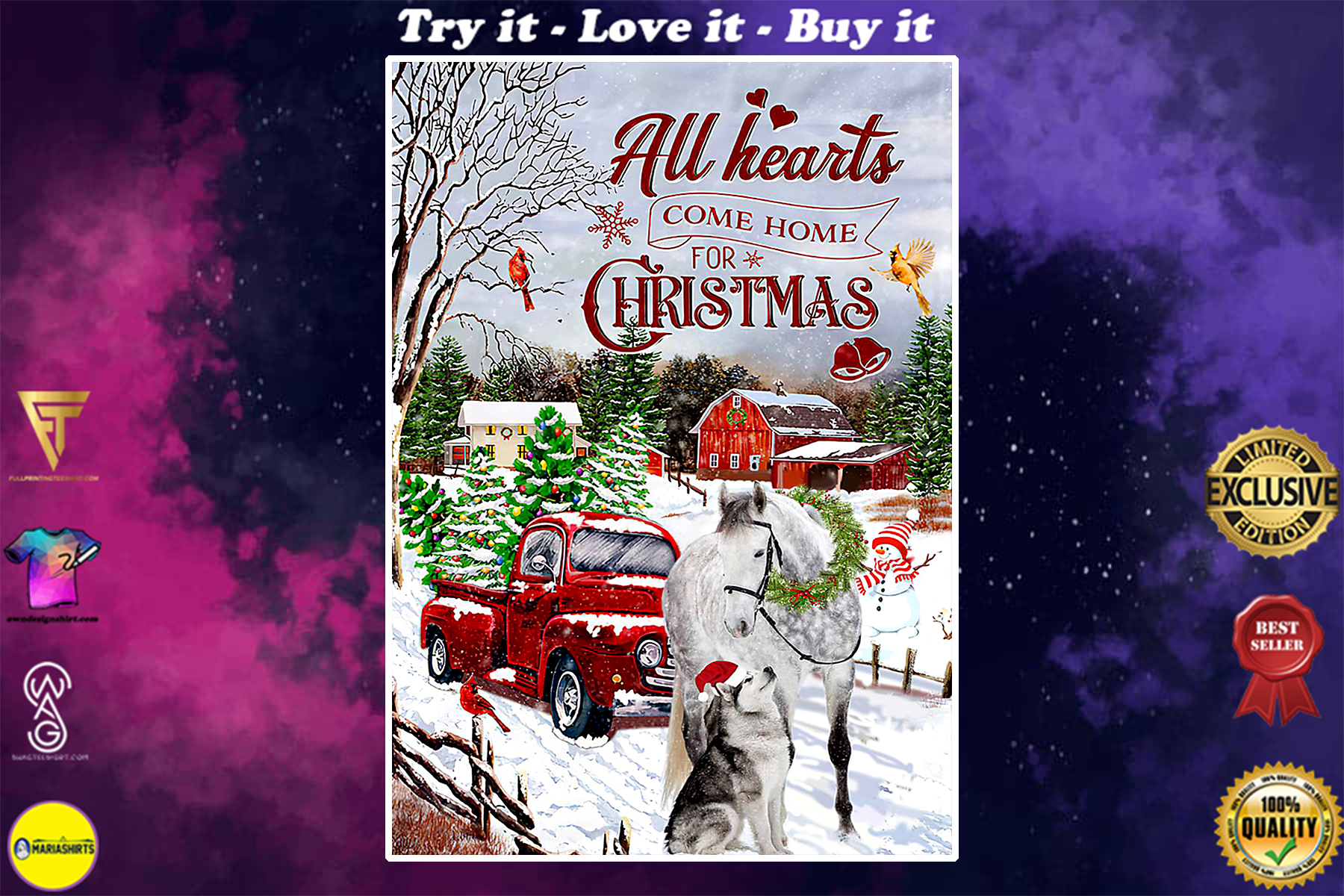 all hearts come home for christmas red truck poster