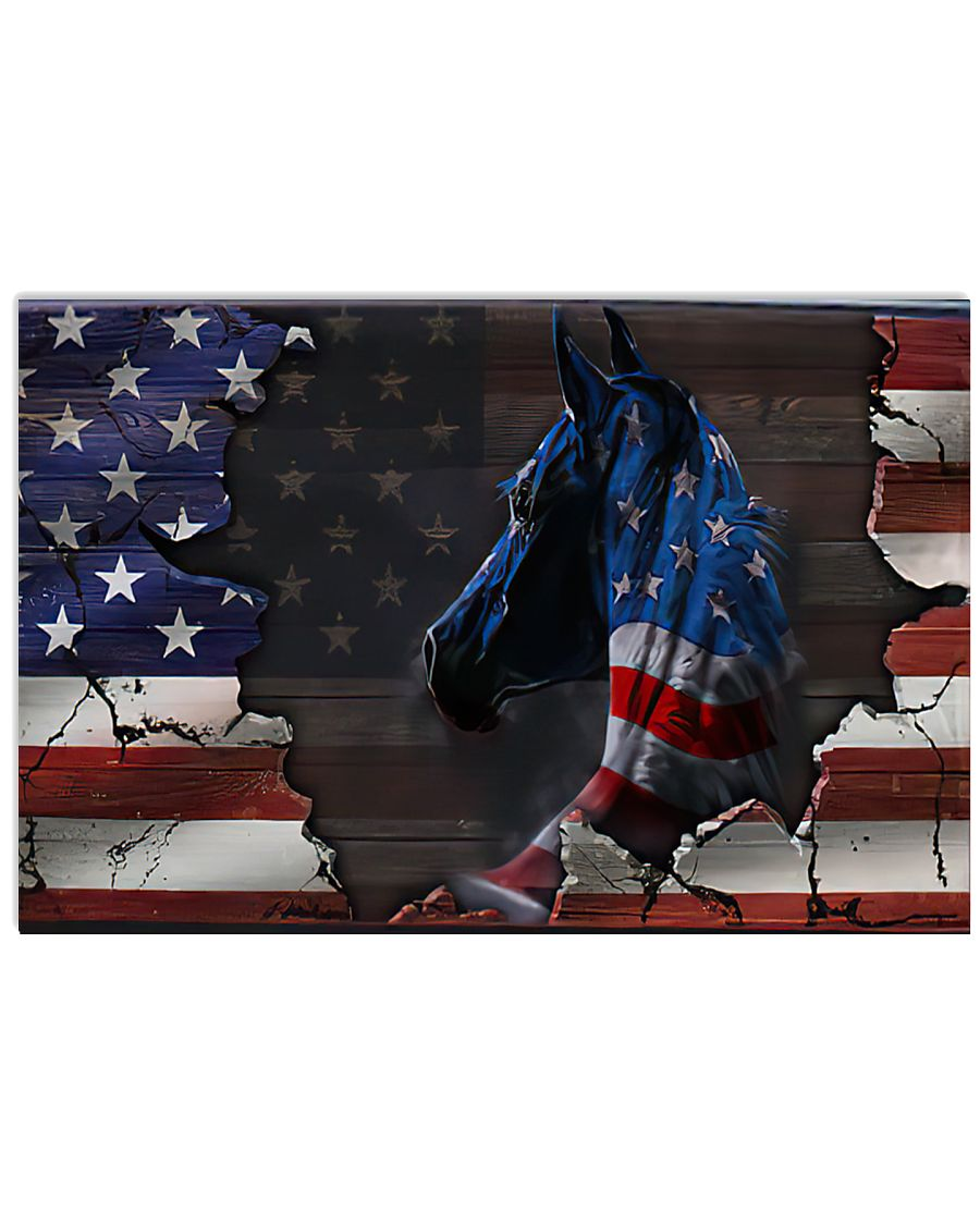american flag and horse wall art poster 1