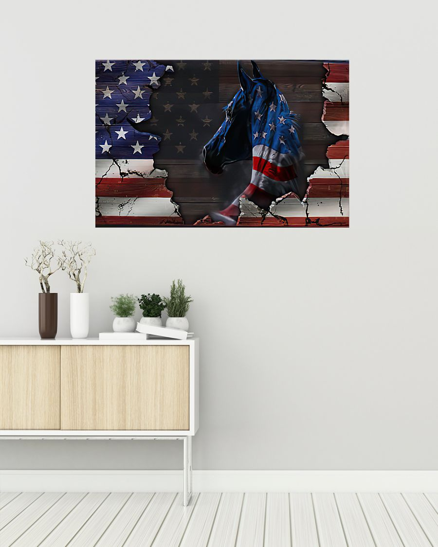 american flag and horse wall art poster 2