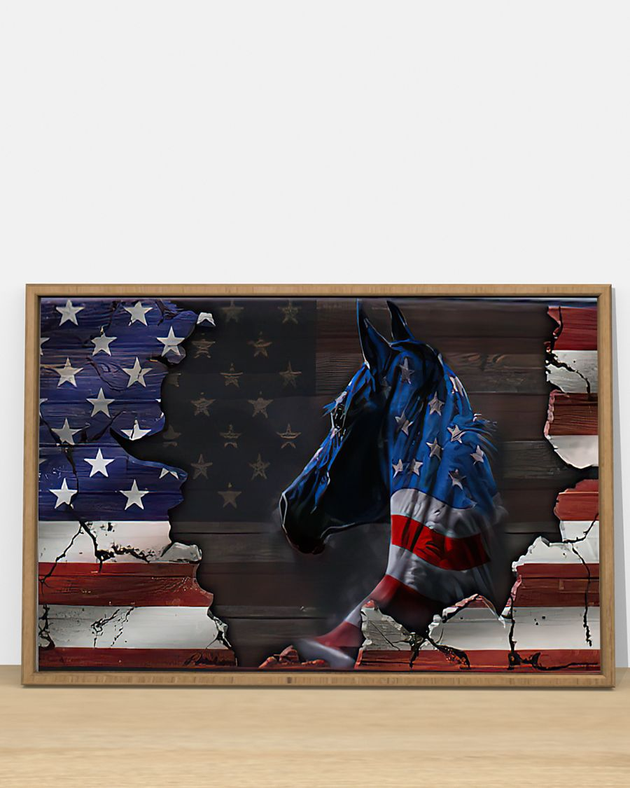 american flag and horse wall art poster 4
