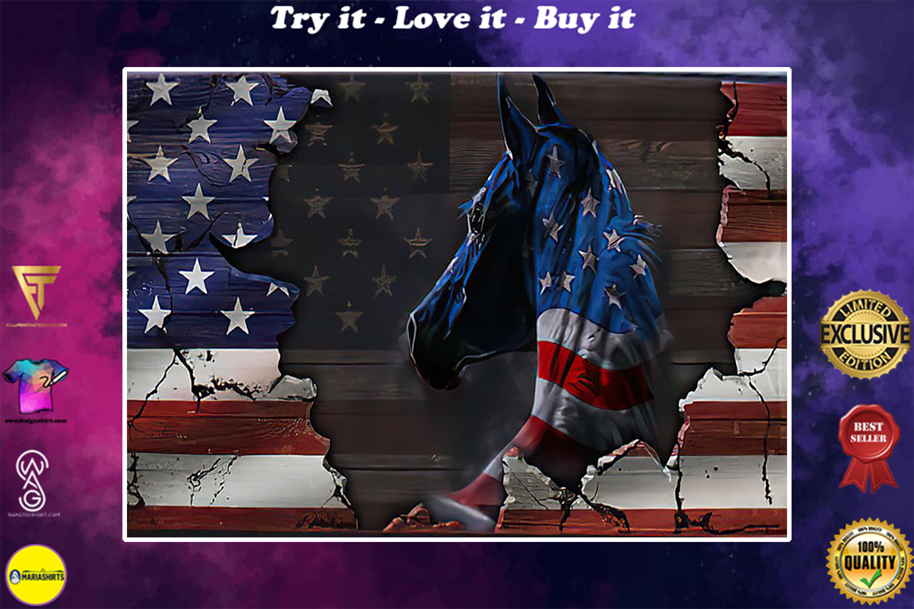 american flag and horse wall art poster