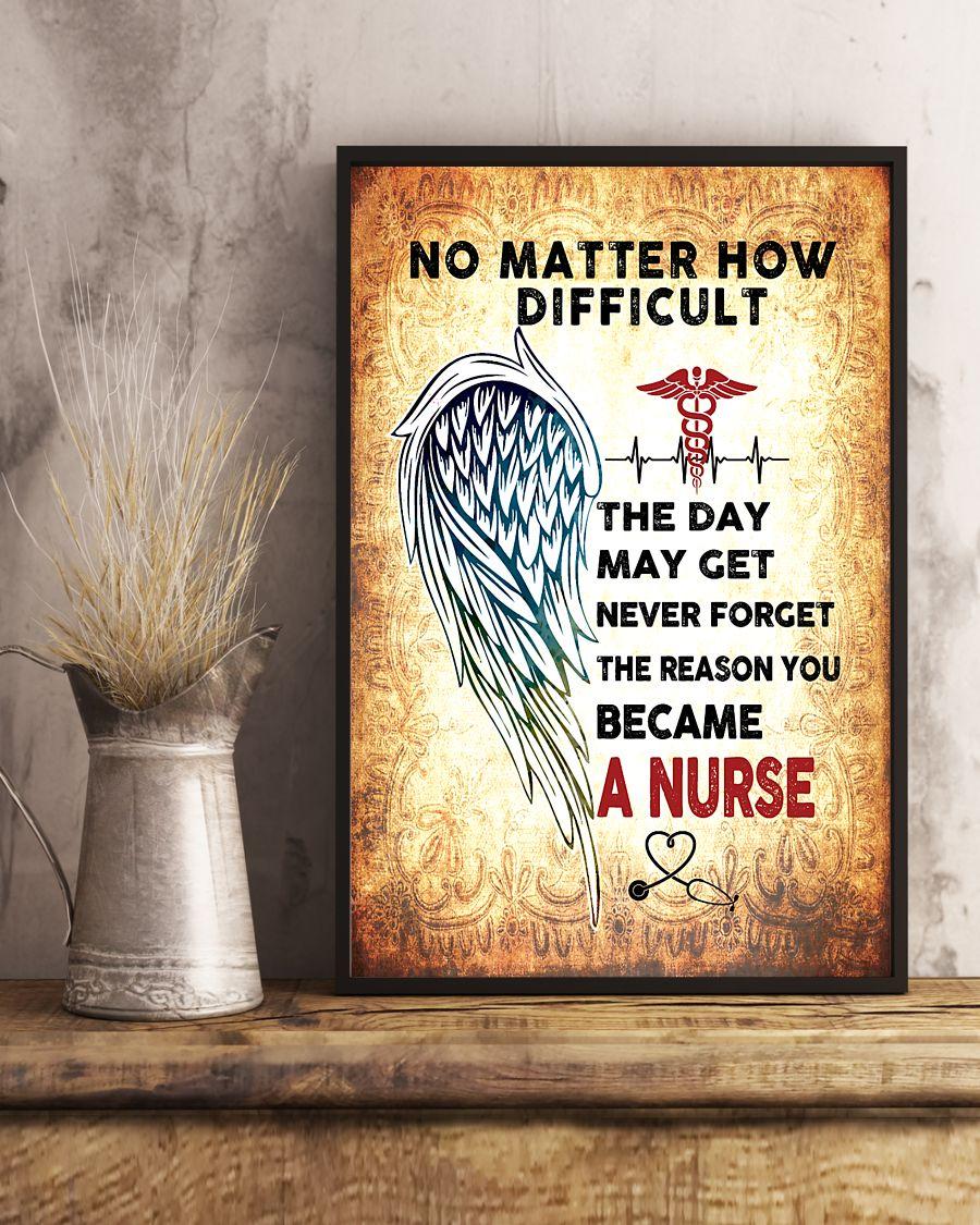 angels wings no matter how difficult the day may get never forget the reason you became a nurse poster 2