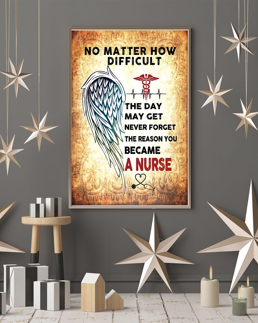 angels wings no matter how difficult the day may get never forget the reason you became a nurse poster 4