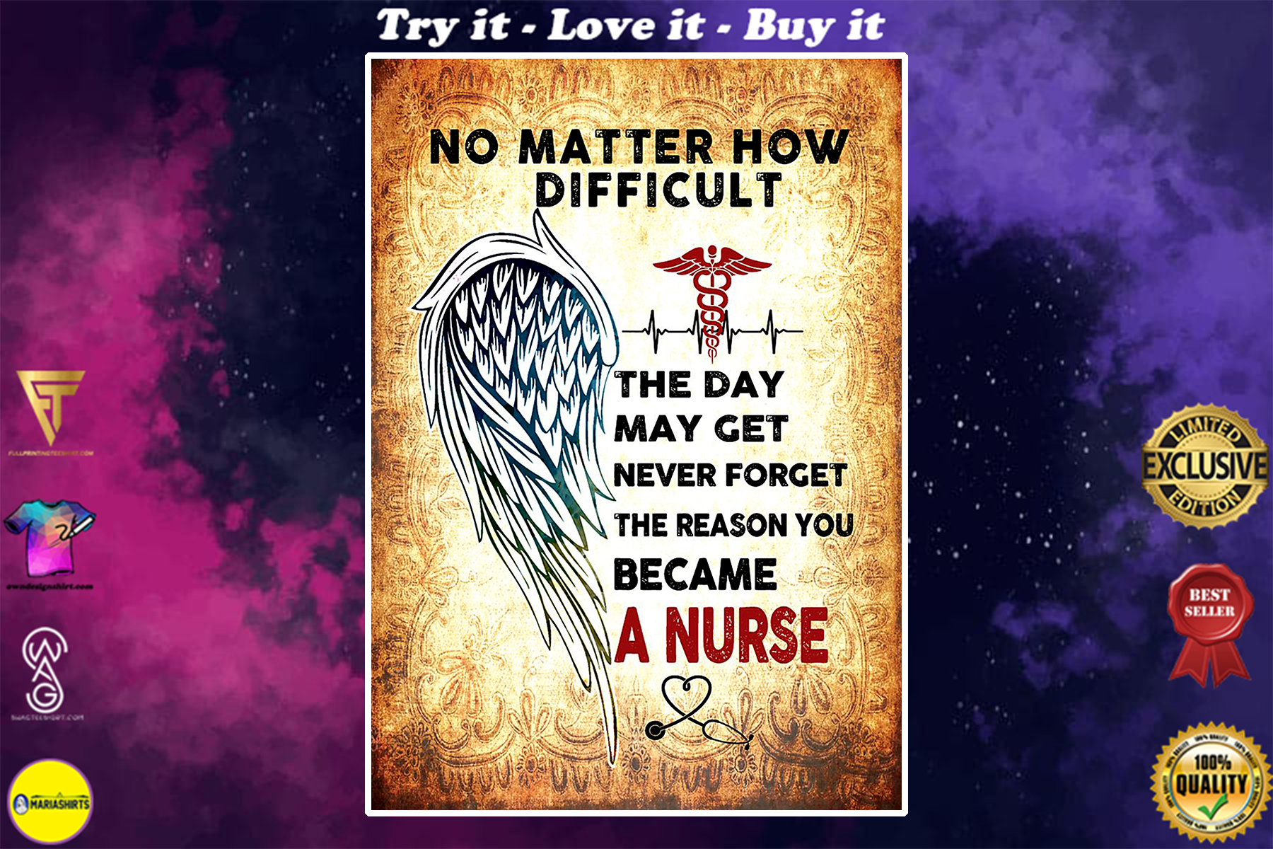 angels wings no matter how difficult the day may get never forget the reason you became a nurse poster