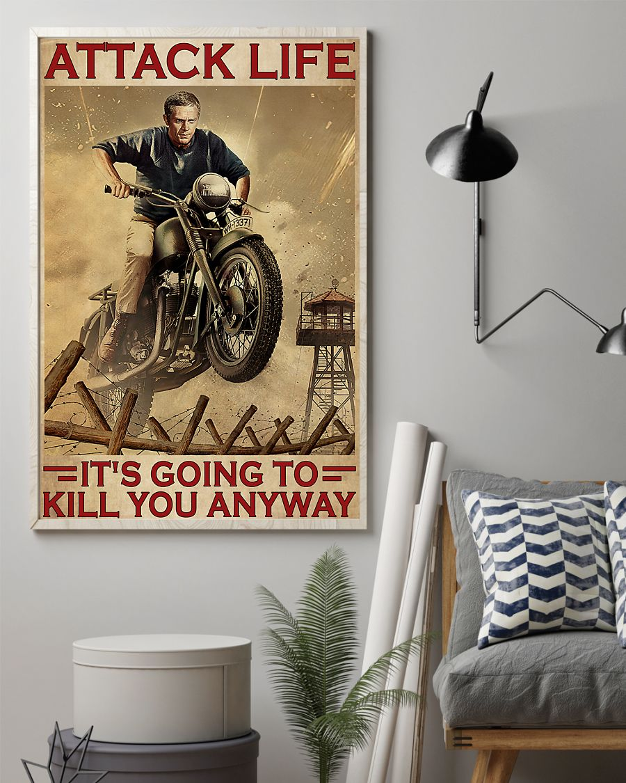 attack life its going to kill you anyway motocross retro poster 2