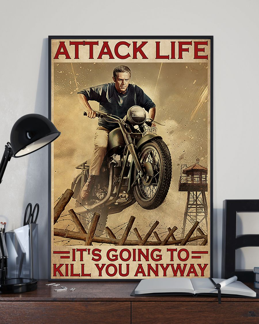 attack life its going to kill you anyway motocross retro poster 3