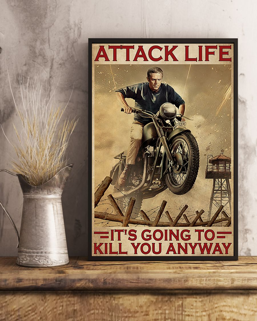 attack life its going to kill you anyway motocross retro poster 4