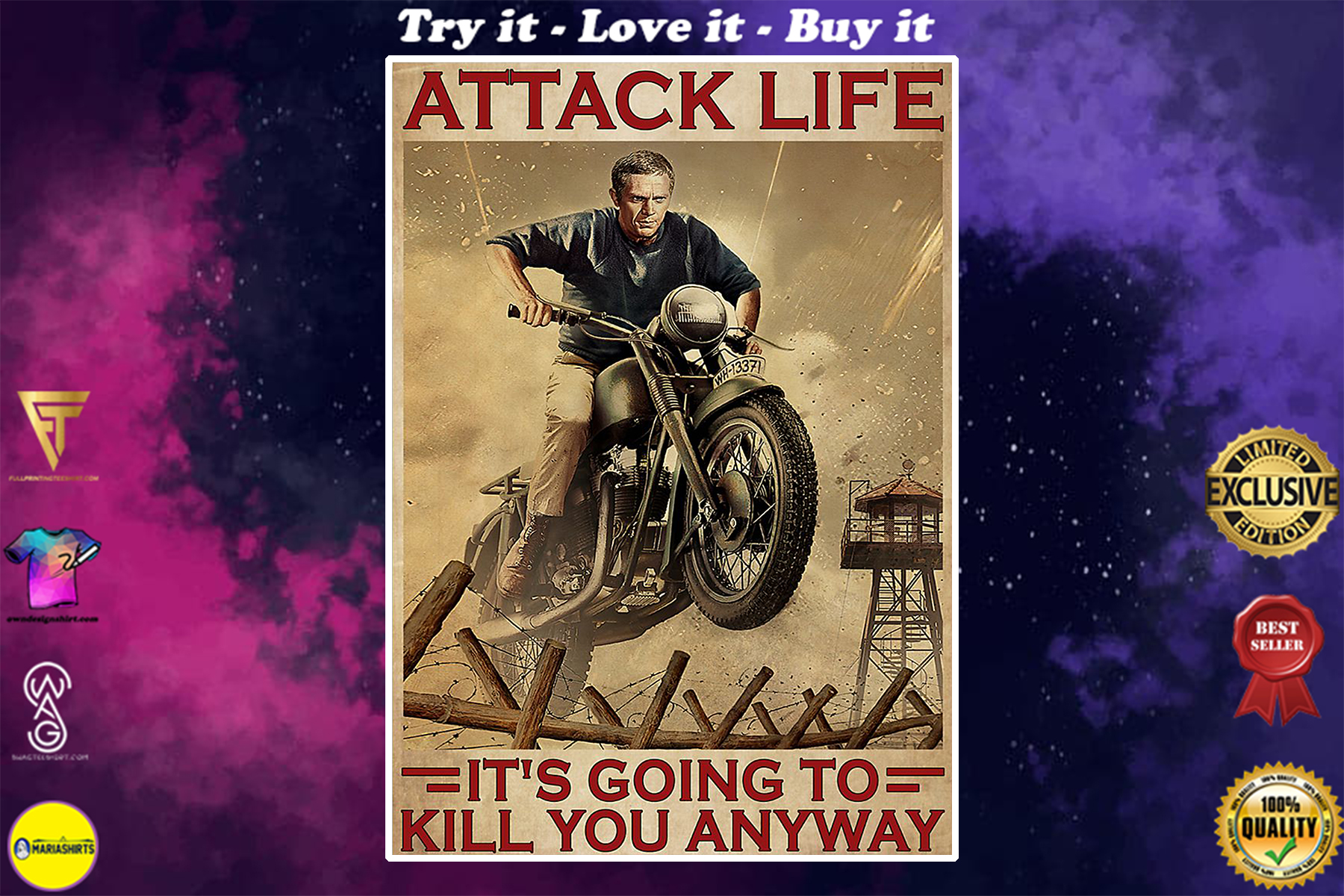 attack life its going to kill you anyway motocross retro poster