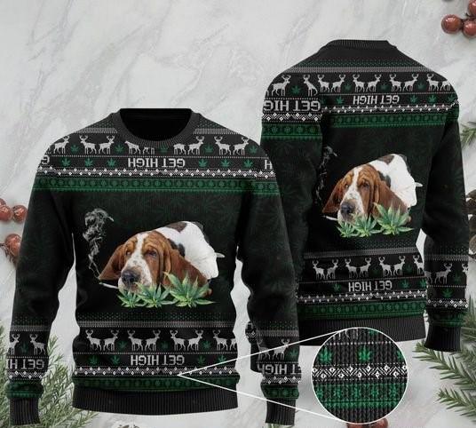 basset hound get high cannabis ugly sweater 2