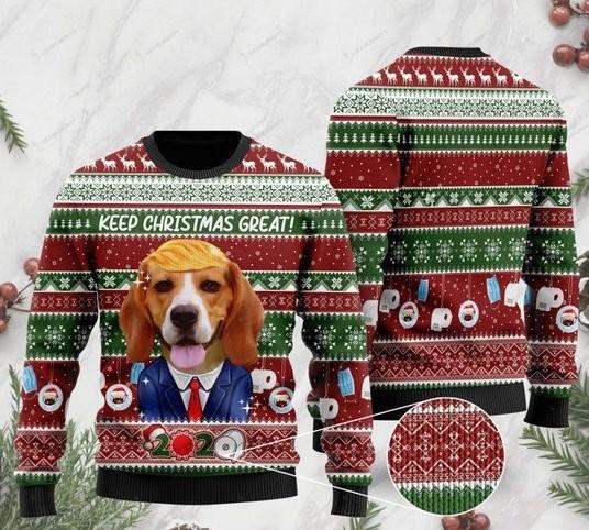 beagle keep christmas great full printing ugly sweater 2