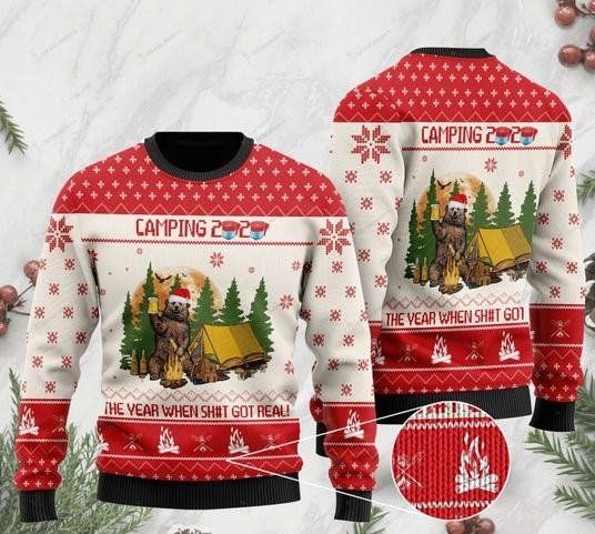 camping 2020 bear drinking beer at the campsite christmas ugly sweater 2