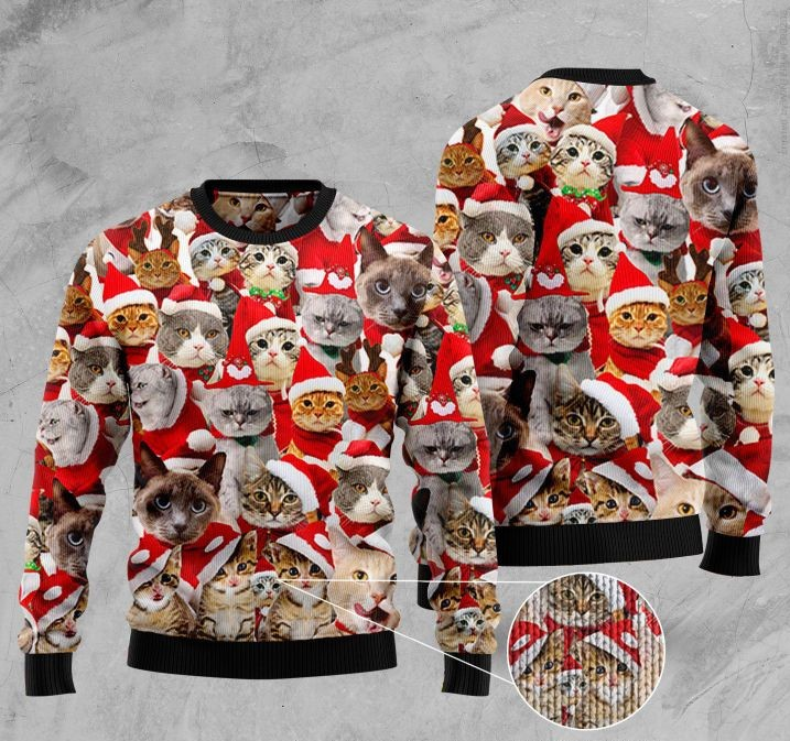 cats with santa hat full printing ugly sweater 2