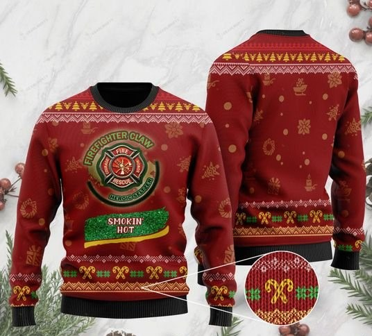 christmas firefighter claw heroic seltzer smokin hot ugly sweater 2