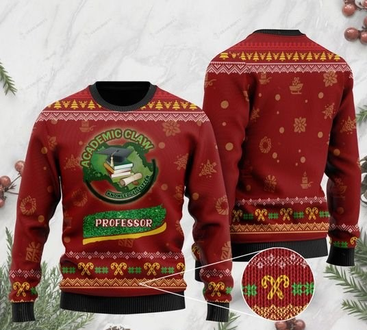 christmas teacher academic claw knowledge ugly sweater 2